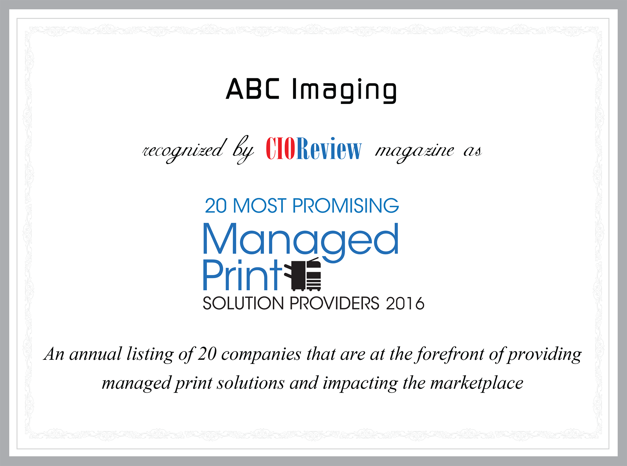 abc imaging listed in cio review magazine u0027s 20 most promising