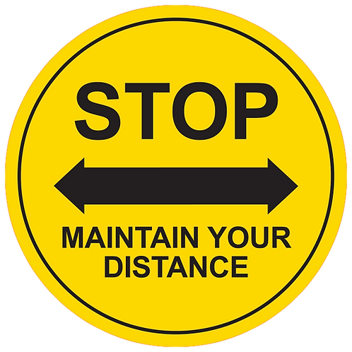 "Stop Maintain Your Distance (Red) - Floor Graphic-Circle 17""​​​​​​​​​​​​​​"