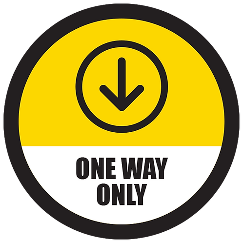 """Series 5: One Way Only Down Arrow- Floor Graphic-Circle 17"""""""