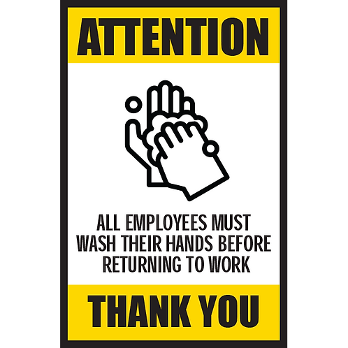 Series 5: All Employees Must Wash Thier Hands- Poster/Sign