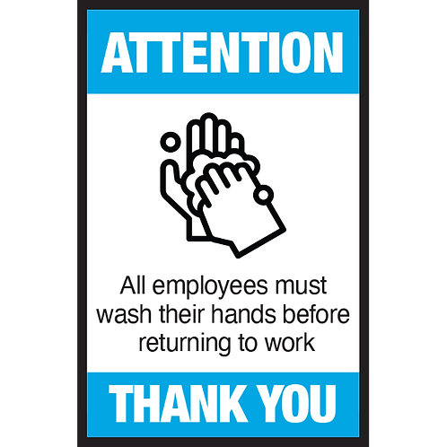 Series 3: All Employees Must Wash Their Hands- Poster/Sign