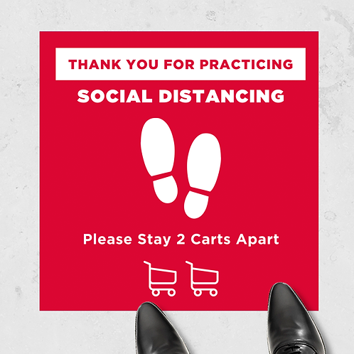 "Social Distancing Carts- Floor Graphic 17""x17""-Non Slip"