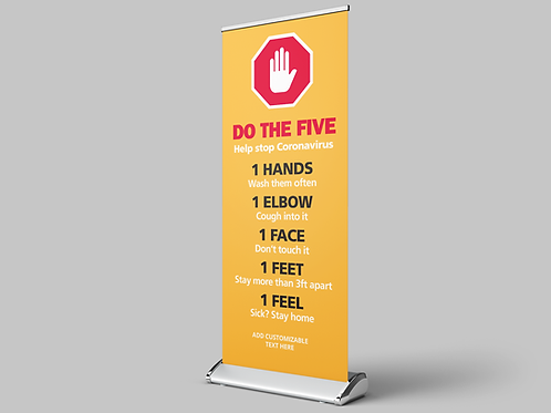 Do the Five Banner,  Banners, COVID-19, Banner Graphics, Social Distancing Pop Up Banners, Retractable Banner