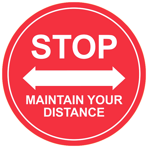 "Stop Maintain Your Distance (Red) - Floor Graphic-Circle 17""​​​​​​​"