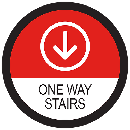 Series 2: One Way Stairs Down Arrow - Floor Graphic-Circle 17""