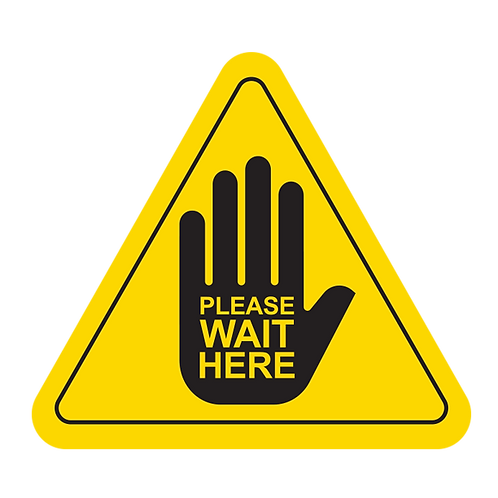 """Please Wait Here - Hands (Yellow) - Floor Graphic-Triangle 17"""""""