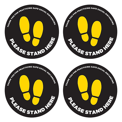 "4- Pack: Please Stand Here- 10"" Circular Floor Decals"
