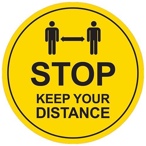 "Stop Keep Your Distance (Yellow) - Floor Graphic-Circle 17""​​​​​​​"