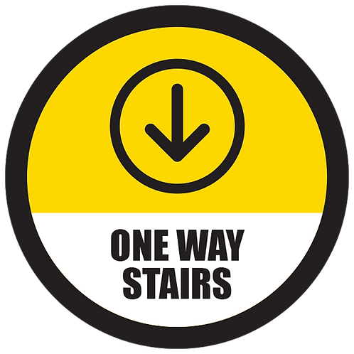 Series 5: One Way Stairs Down Arrow - Floor Graphic-Circle 17""