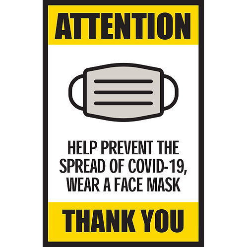 Series 5: Help Prevent the Spread of COVID-19, Wear a Face Mask - Poster/Sign