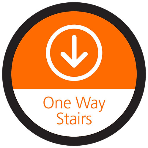 Series 4: One Way Stairs Down Arrow - Floor Graphic-Circle 17""