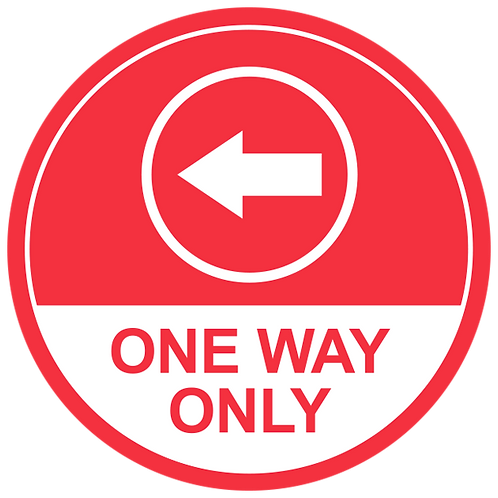 One Way Only Left Arrow (Red) - Floor Graphic-Circle 17""