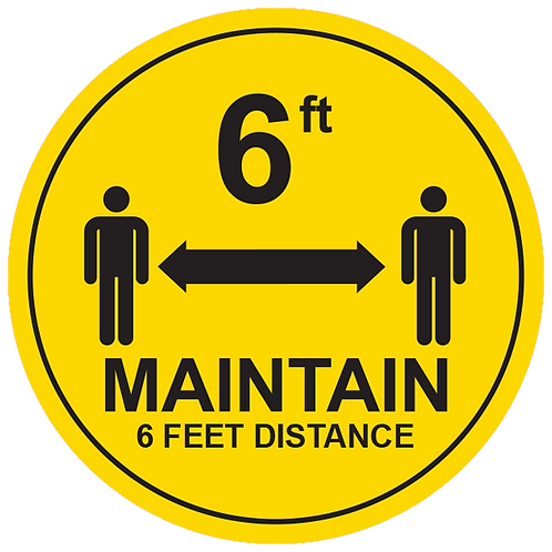 "Maintain 6ft Distance (Yellow) - Floor Graphic-Circle 17""​​​​​​​"