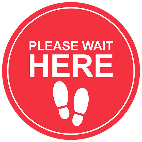 Please Wait Here: Feet (Red) - Floor Graphic-Circle 17""