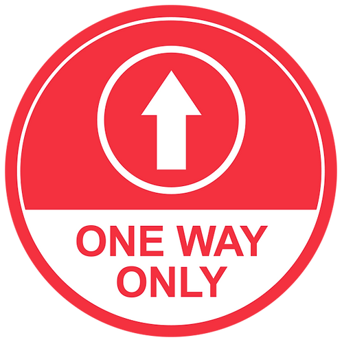 One Way Only Up Arrow (Red) - Floor Graphic-Circle 17""