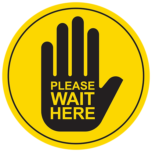 "Please Wait Here: Hand (Yellow) - Floor Graphic-Circle 17"""
