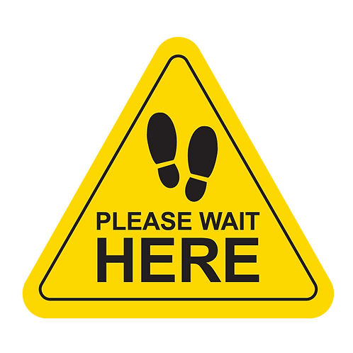 "Please Wait Here -Feet (Yellow) - Floor Graphic-Triangle 17""​​​​​​​"