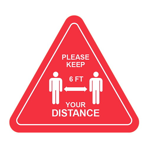 "Please Keep Your Distance (Red) - Floor Graphic-Triangle 17""​​​​​​​"