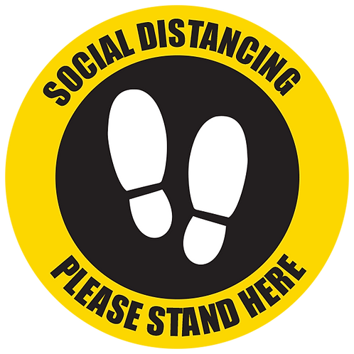 Series 5: Social Distancing Please Stand Here - Floor Graphic-Cir​​​​​​​cle 17""