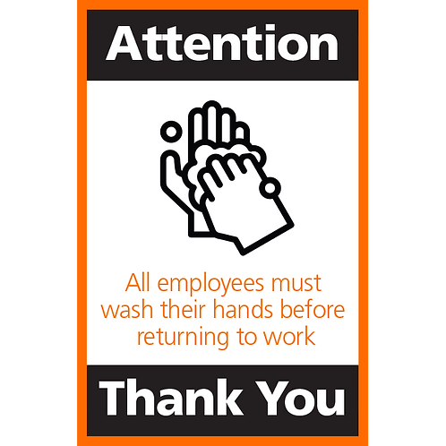 Series 4: All Employees Must Wash Their Hands - Poster/Sign