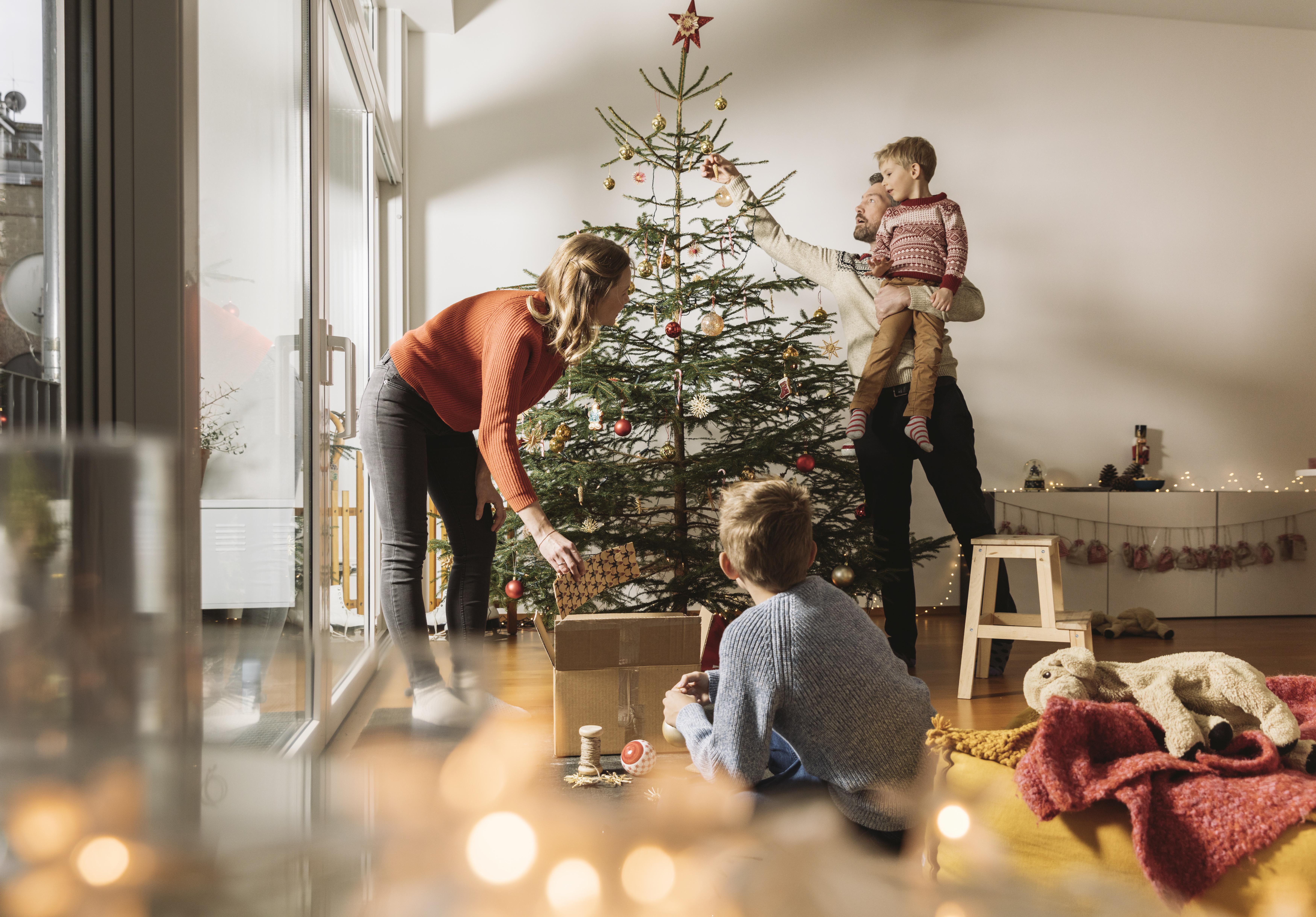Семья Рождественская елка