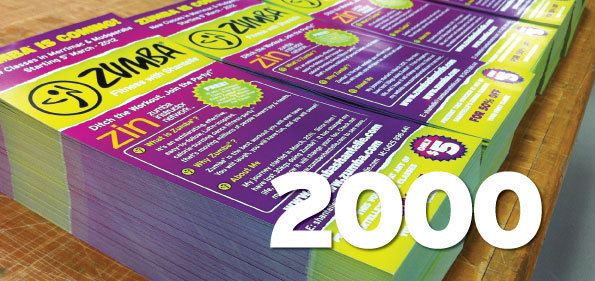 2000 x DL Flyers 4 colour process