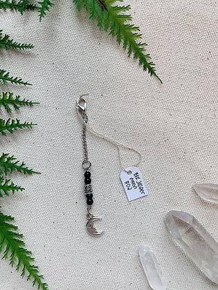 Black Jasper Moon Keychain