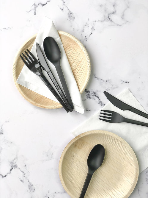 Compostable Plate, Cutlery + Napkin