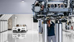 O surreal processo de montagem e teste do motor do Bugatti Chiron