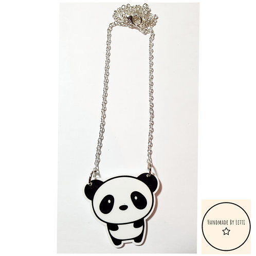 Cute Panda resin necklace / silver plated chain
