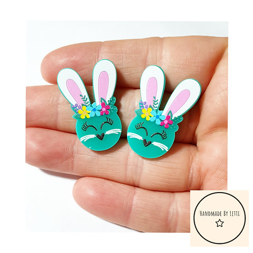 Turquoise floral bunnies Rabbits stud earrings/ acrylic