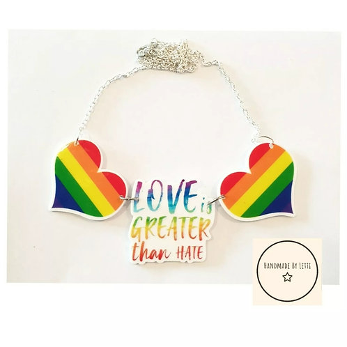 Rainbow love Necklace Acrylic Statement Silver Plated love is greater than hate