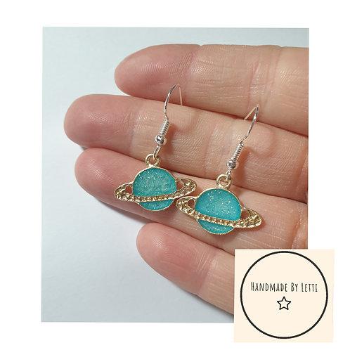 Planets galaxy Earrings /Handmade / turquoise enamel