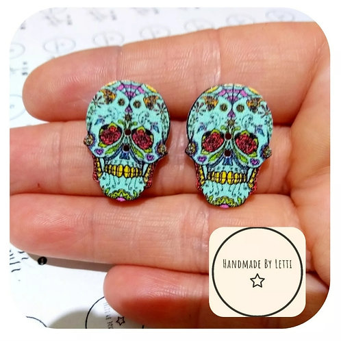 Green Recycled button sugar skull stud earrings/wooden