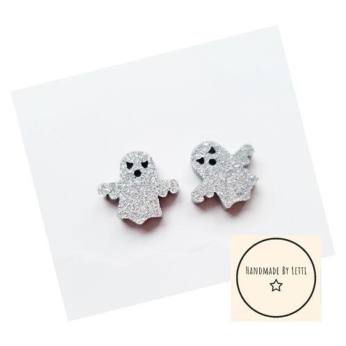 Glitter ghoul mini stud earrings / ghost acrylic