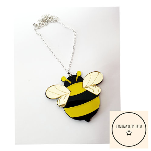 Buzzy Bee acrylic necklace / silver plated chain