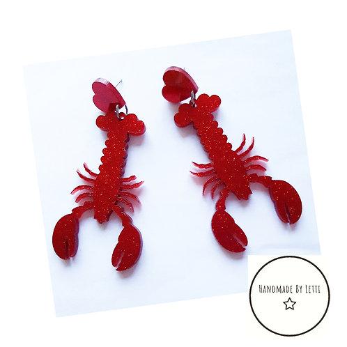 Lobster love stud dangle drop earrings/ red acrylic XL