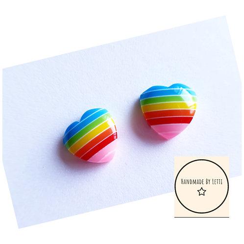 Rainbow heart stud earrings / resin / 12mm stainless steel