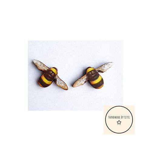 Wooden  bumble bee stud earrings //laser cut //