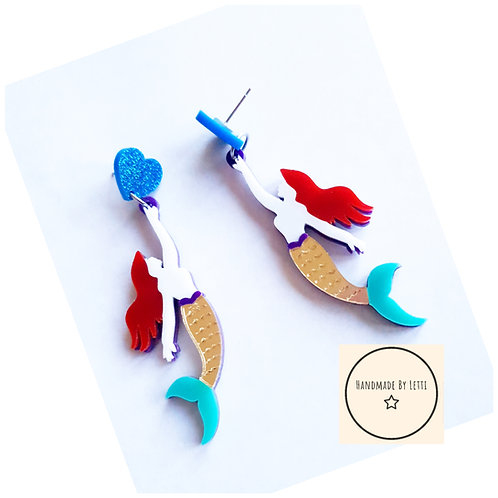 Mermaid stud dangle drop earrings// acrylic// blue glitter laser cut heart