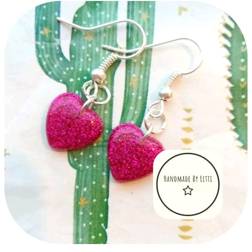 Pink glitter heart small 12mm dangle drop earrings