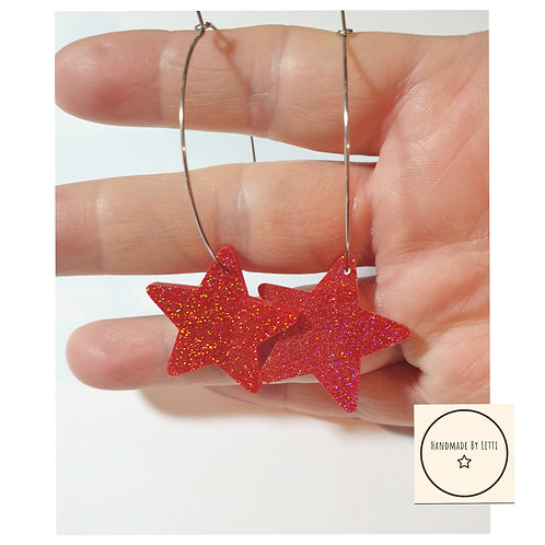Red stars hoops / resin gold glitter / stainless Steel large 40mm hoops