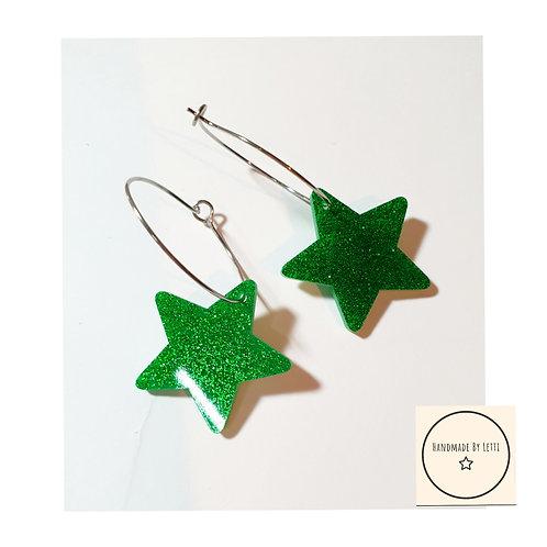Glitter  stars green hoops / stainless Steel