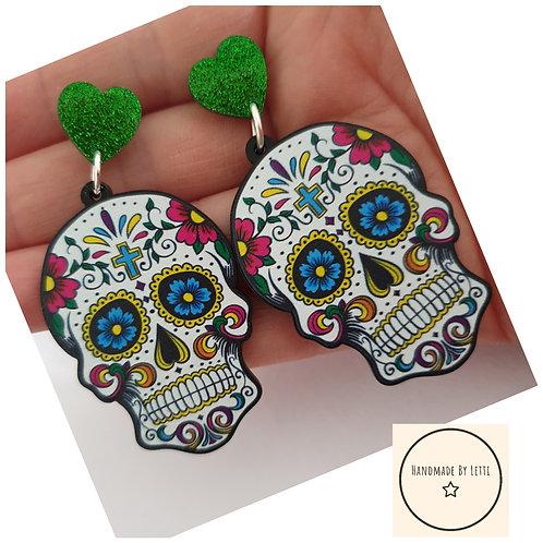 Rainbow sugar skull stud dangle drop earrings / 50mm acrylic green glitter