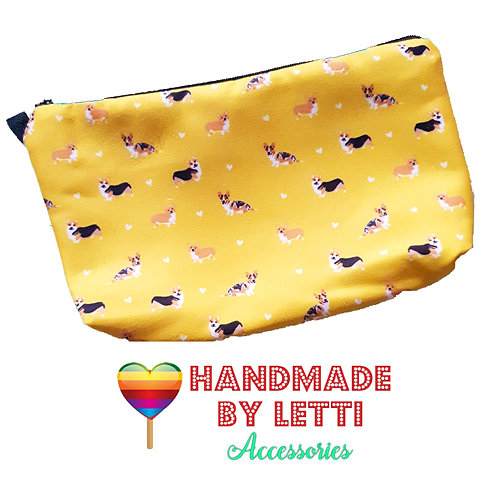 Cute yellow corgis make up bag