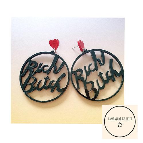 Rich Bitch stud dangle drop / acrylic / XL / black