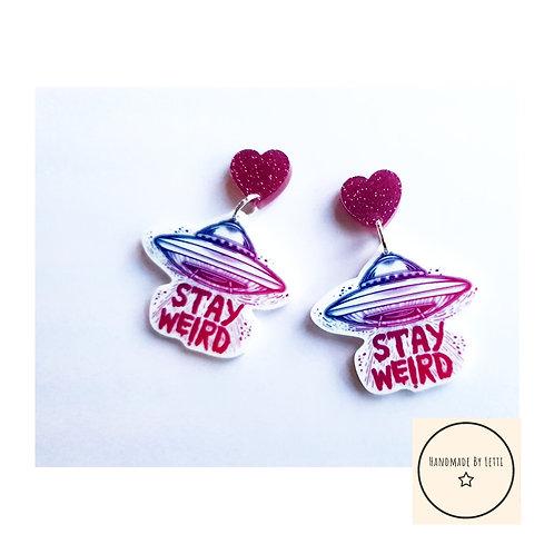 Stay weird stud dangle earrings  // acrylic // large // pink glitter heart