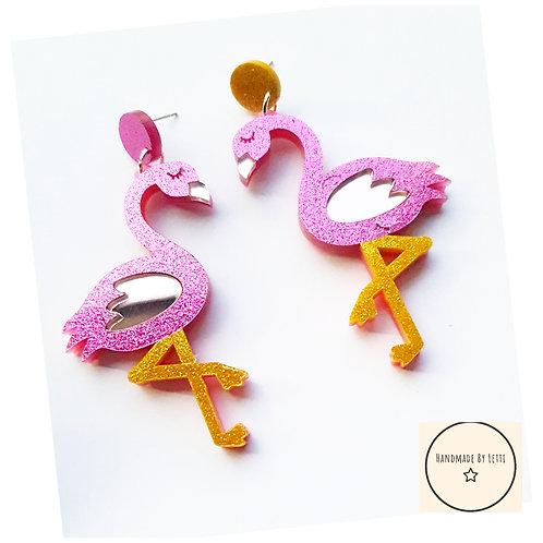 Large glitter flamingo dangle drop studs // acrylic pink gold