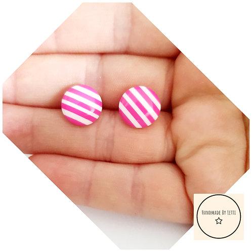 12mm pink candy stripe resin stud earrings