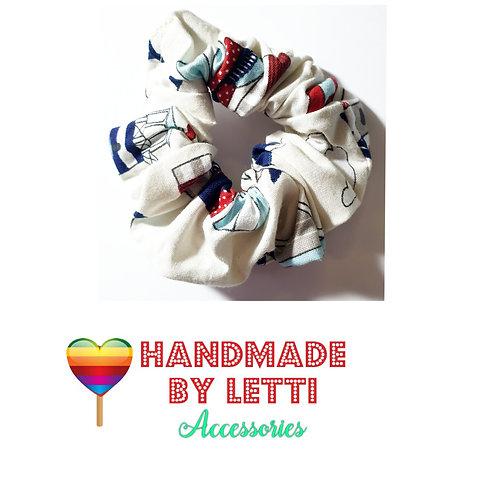 Handmade hair  scrunchie / nautical lighthouse